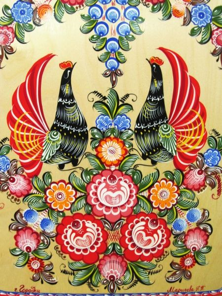 Folk Gorodets painting from Russia. A floral pattern with two cocks. #art #folk #painting #Russian