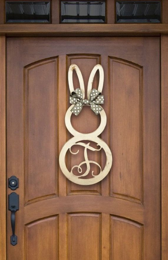 Easter Bunny Monogram Unfinished Wooden 22.5 by PoshPreppie