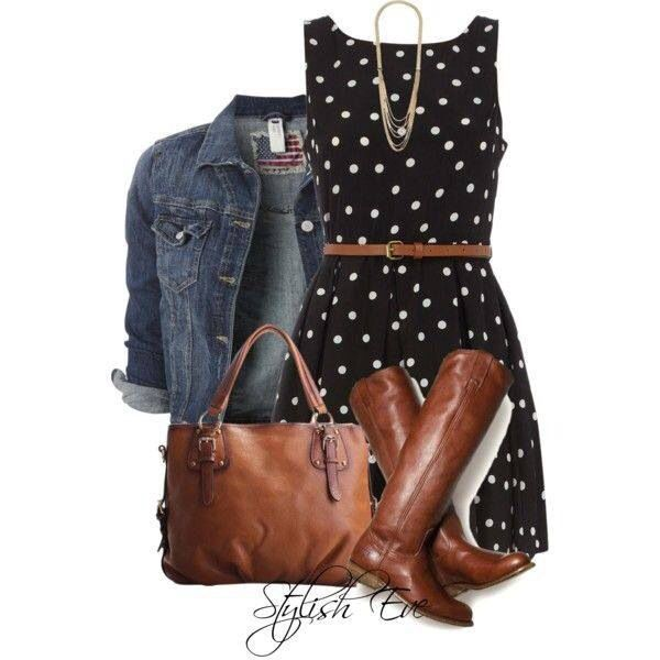 I love this look. polka dot dress w/jean jacket & boots (makes me wish for brown knee high boots)