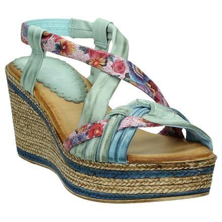Multicolor Sandalen met Sleehak en Bloemenprint Bertuchi