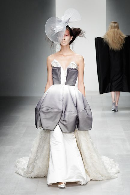 Wearable Art - flower-inspired dress with 3D wedge shapes for the bodice & a sculptural petal skirt in grey ombre // Corrie Nielsen SS13