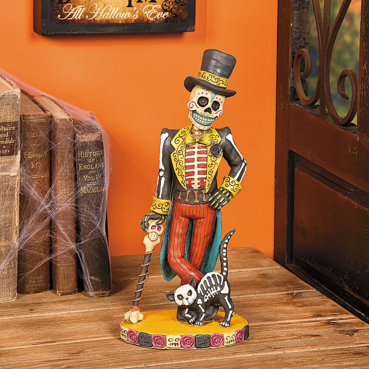 vintage day of the dead skeleton man statue mexican decorationshalloween