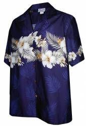 Big Hibiscus Palm Boys Hawaiian Aloha Shirt in Navy