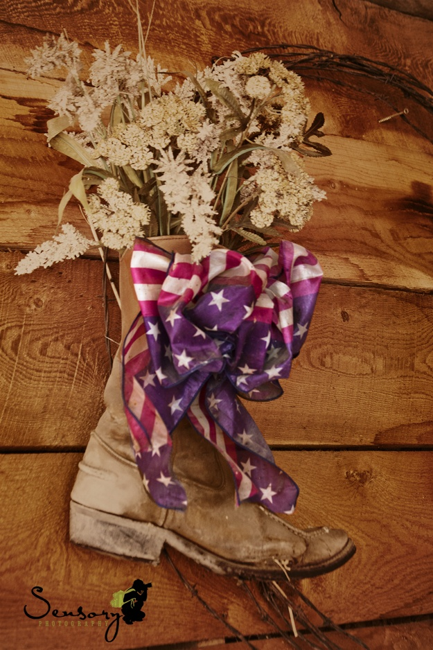 Cowboy boot American flag ribbon.