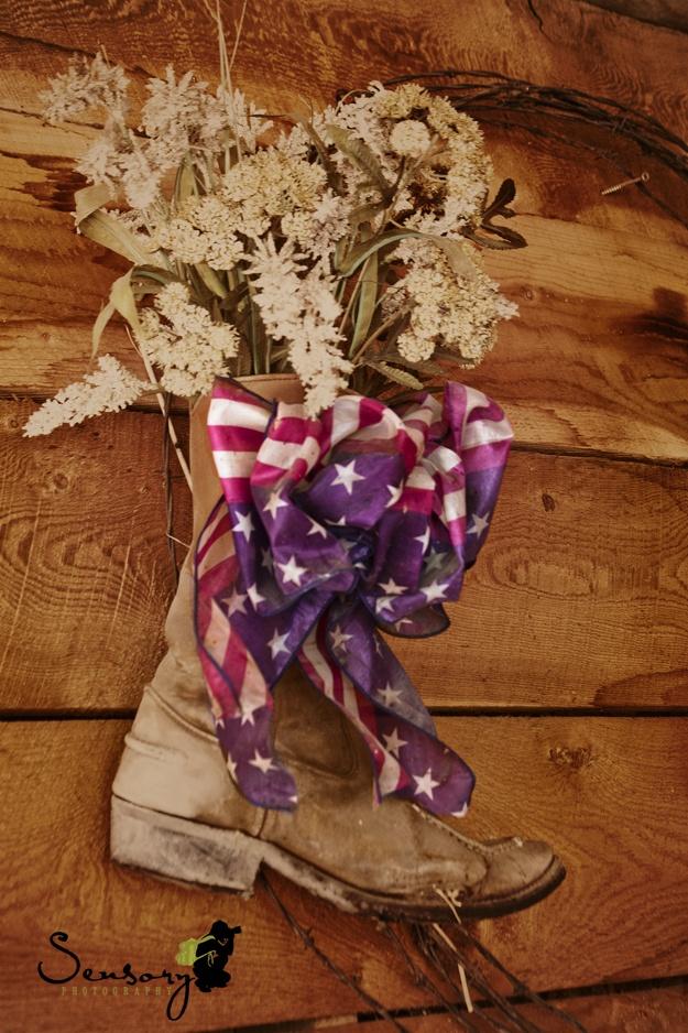 Cowboy boot American flag ribbon.