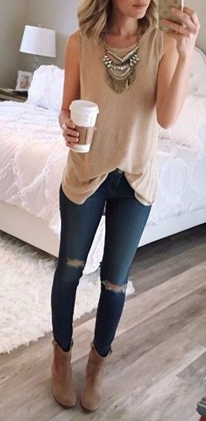 #thanksgiving #outfits Beige Tank // Ripped Skinny Jeans // Beige Booties