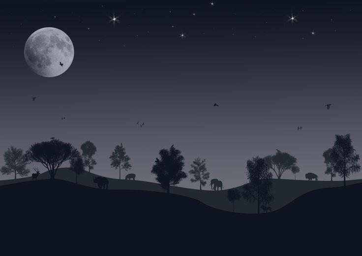 #dreamwork #animals #night #trees #silhouette #section #lanscape #moon #stars #ravens
