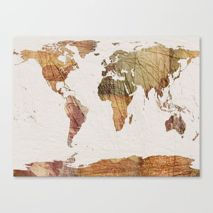 """Fine art print on bright white, fine poly-cotton blend, matte canvas using latest generation Epson archival inks. Individually trimmed and hand stretched museum wrap over 1-1/2"""" deep wood stretcher bars. Includes wall hanging hardware.  #art  #prints  #travelart  #society6  #currency  #vintage  #mapart"""