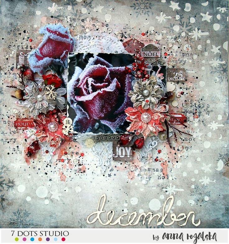 7 Dots Studio 'December Memories' kit - layout #7dotsstudio #layout #winter #mixed-media #mixedmedia #flowers