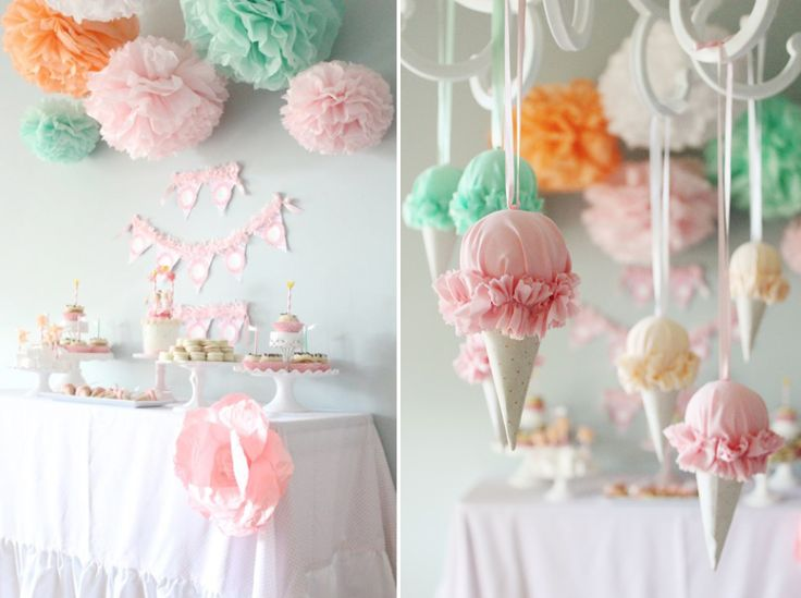 60 идей как украсить комнату на день рождения ребенка http://happymodern.ru/kak-ukrasit-komnatu-na-den-rozhdeniya-rebenka/ Необычное украшение в виде мороженого - стильно и оригинально