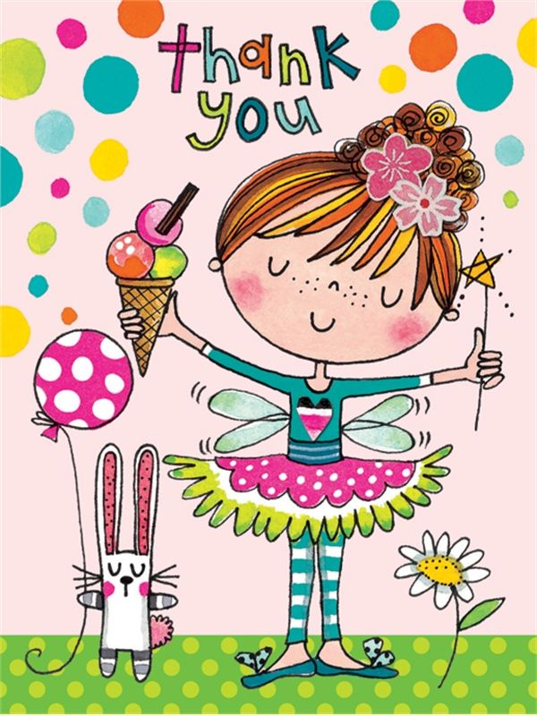 PK132 Thank You - Girl with Ice Cream - Packs of 5 - Rachel Ellen Designs – Card and Stationery Designers and Publishers