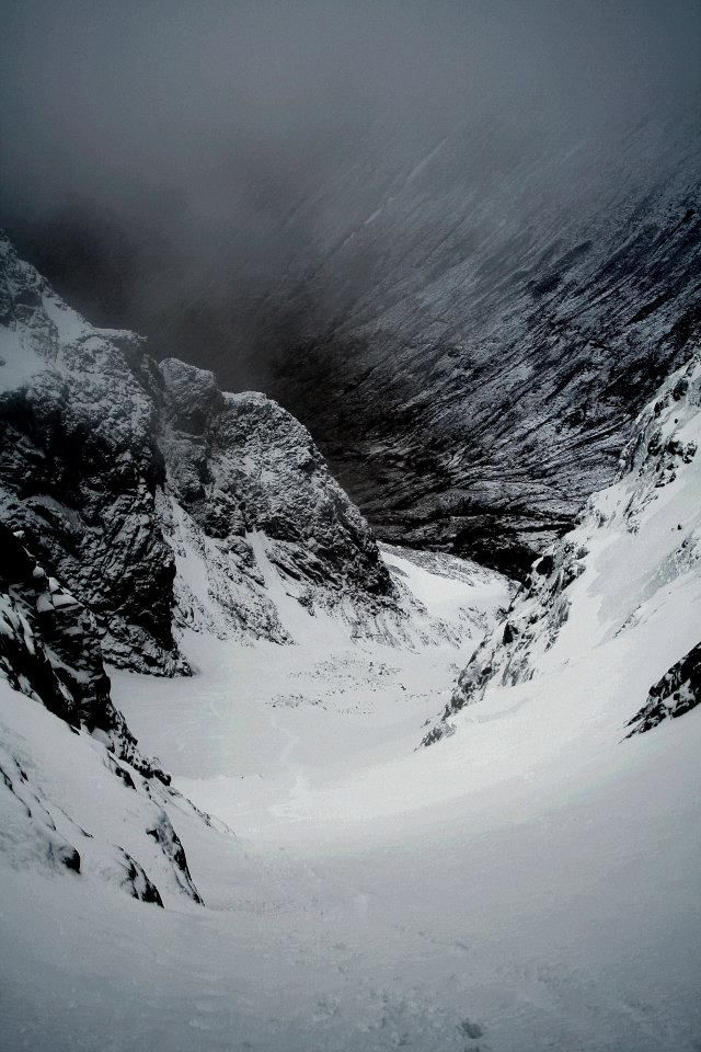 Looking Observatory Gully down from the first pitch — at Ben Nevis Scotland.