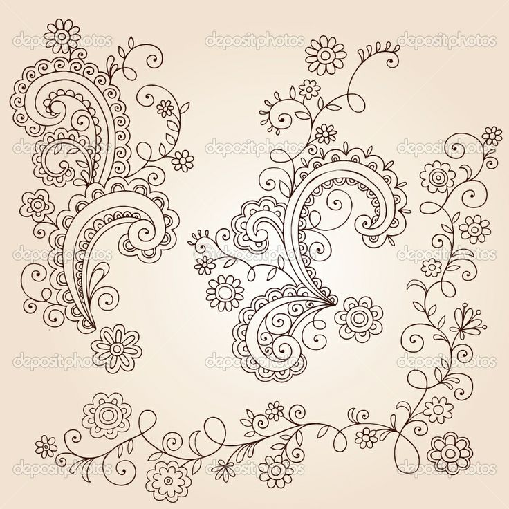 Small Flower Tattoo Ideas | Henna Mehndi Paisley Flowers and Vines Doodle Vector Design | Stock ...
