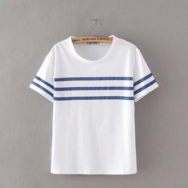 Summer New Fashion Women Elegant Knitting Stripe Print T shirt O-Neck short sleeve white Shirts Casual Brand Tops