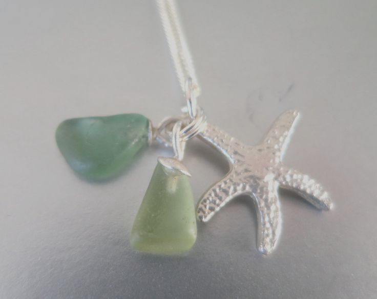 Sterling Starfish and Sea Glass Neclace by Artistic925Jewellery on Etsy