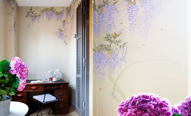 Modern chinoiserie 'Wisteria' design from Misha wallpaper, hand painted on Cream dyed silk.