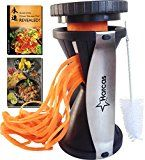 #8: Premium Spiralizer Spiral Vegetable Slicer  Zucchini Pasta Noodle Maker  Complete Bundle  Cleaning Brush the Secrets of the Chinese Chefs Ebook & the Indian Chef Ebook Recipes