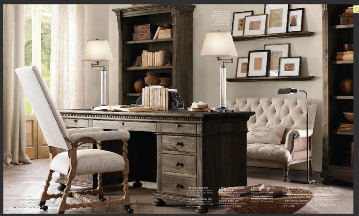 17 best images about home office decor on pinterest home office design office spaces and shelves - Small spaces restoration hardware set ...