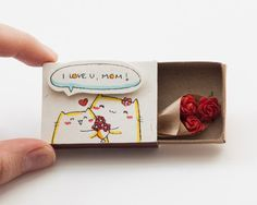 Mother's Day I love you Mom Card Matchbox/ Gift box / by shop3xu
