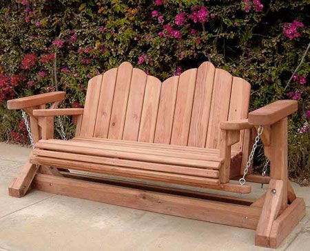 Redwood Glider Swing Bench Very Unique Outdoor