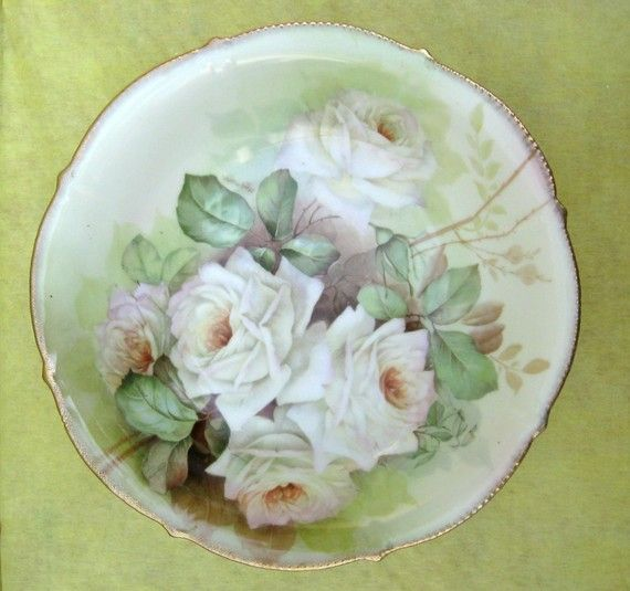 Handpainted Bowl / Lovely White Roses on China