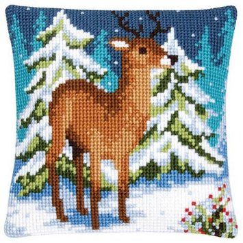 Vervaco Deer in the Snow Pillow Cover Needlepoint Kit