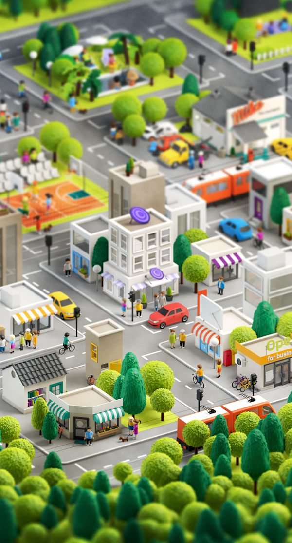 This would be a fun 3D model for the kids to make. 3D City by Anna Paschenko | Abduzeedo Design Inspiration