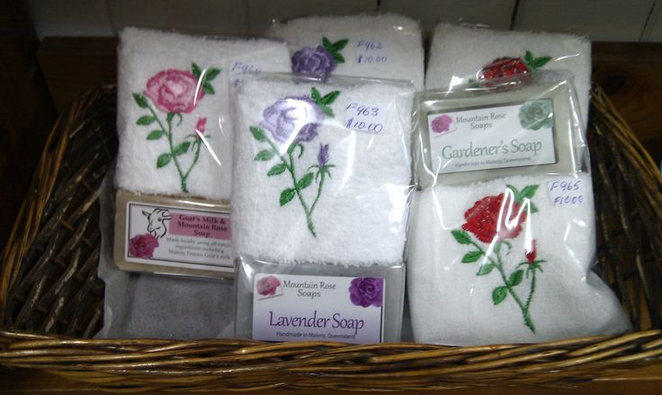 A great gift of embroidered face washer and handmade soap. (Sept 2013)