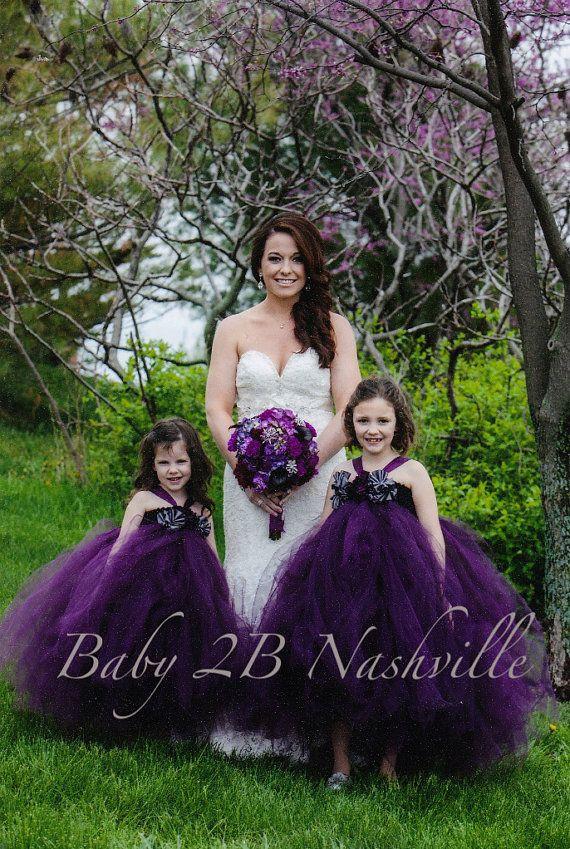 Flower Girl Tutu Dress in Plum and Gunmetal 56T by Baby2BNashville, $113.00