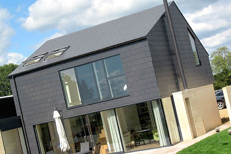 Modern hanging slates. Thrutone Fibre Cement Slates used for Roof and Wall Cladding