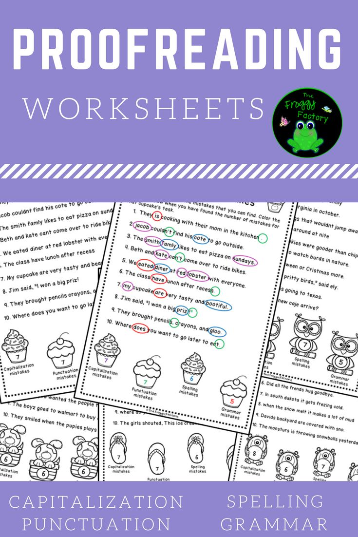 These 6 NO PREP proofreading worksheets practice correcting capitalization, punctuation, spelling, and grammar. They are great to use as homework, morning work, classwork, stations, or for interactive notebooks. The cute clipart will engage your students and they will love finding all of the mistakes in order to color in the pictures at the bottom.