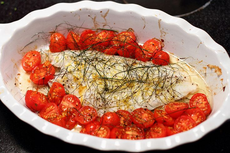 Sunday Dinner: Baked Turbot with Cherry Tomatoes and Fennel - District of Chic
