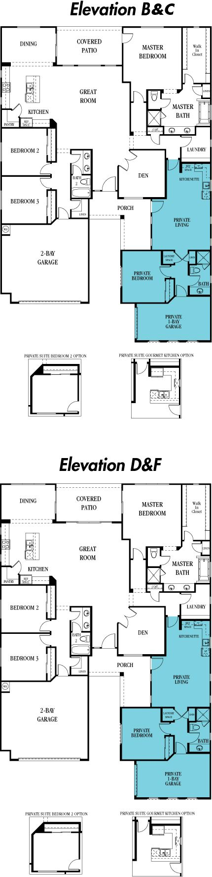 5582 Evolution - Next Gen: This one story home includes a main home and a private suite that are seamlessly connected with a dual access door for a total of 4 bedrooms, 3 bathrooms, and 2,958 sq. ft.