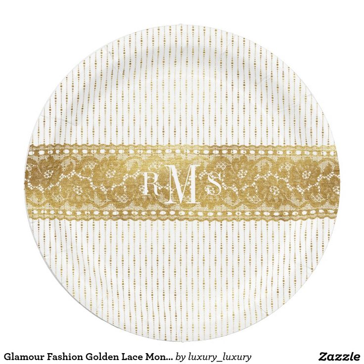 Glamour Fashion Golden Lace Monograms Paper Plate 9 Inch Paper Plate