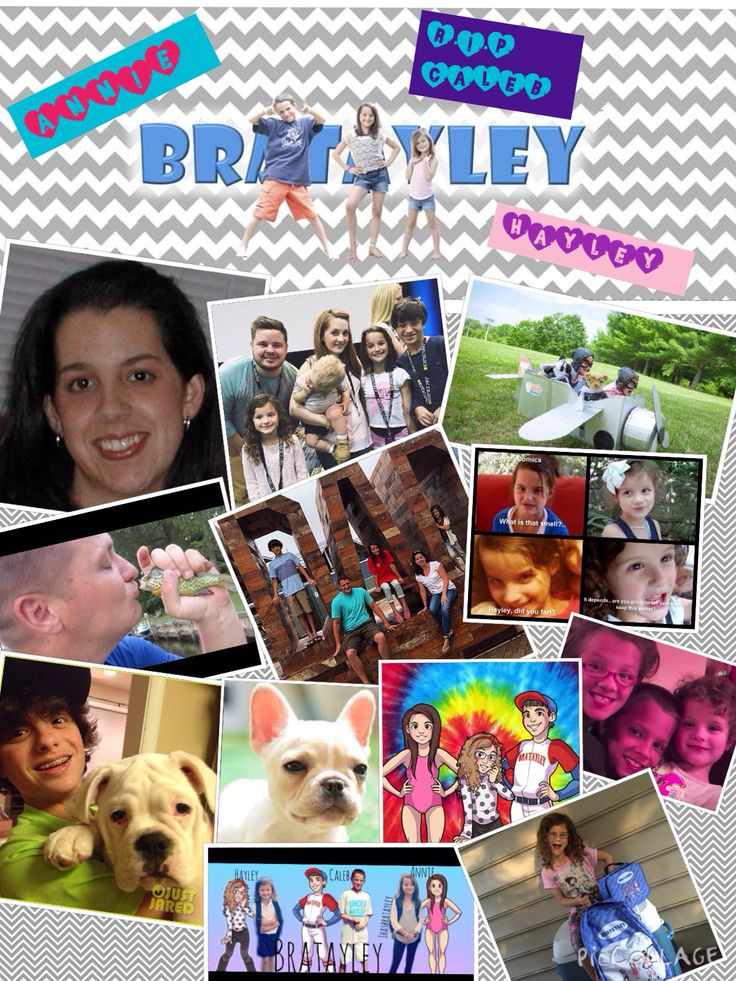 This is a collage of the bratayley family