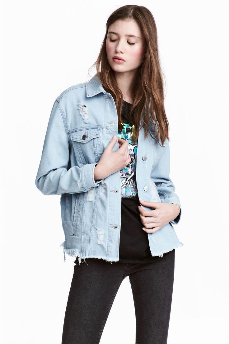 Trashed denim jacket - Light denim blue - Ladies | H&M GB