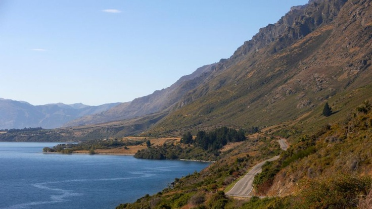 The Road to Kingston under the Remarkables range. Queenstown to Milford Sound via Te Anau
