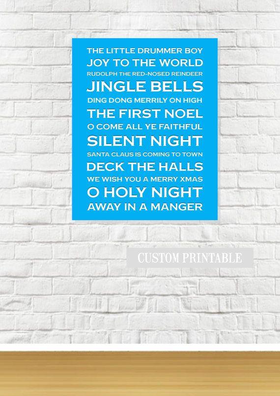 FAVOURITE CHRISTMAS Carols Subway Printable Wall by ColourMyRoom