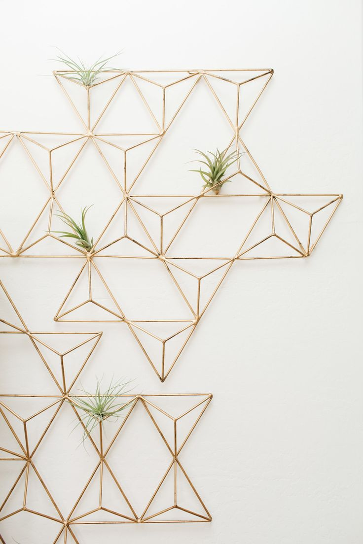 metal brass geometric wall art turned planter for air plants. a unique use of art.