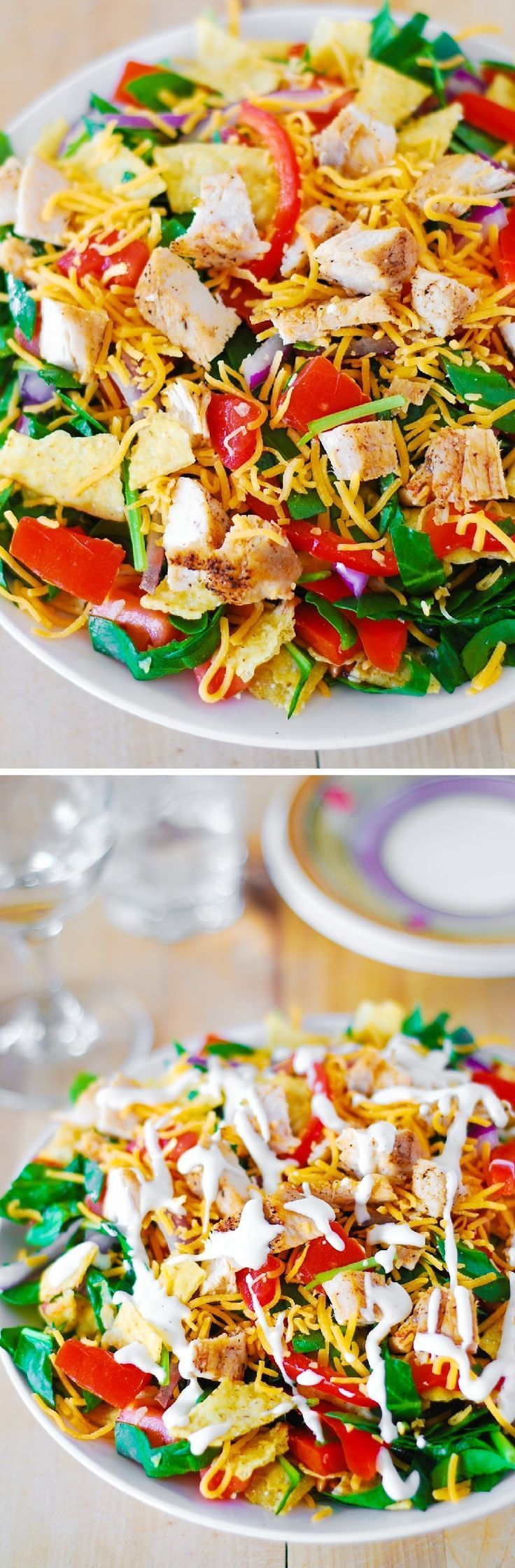 Mexican chicken taco salad. With healthier Greek Yogurt based dressing. Or use Ranch dressing. #gluten_free