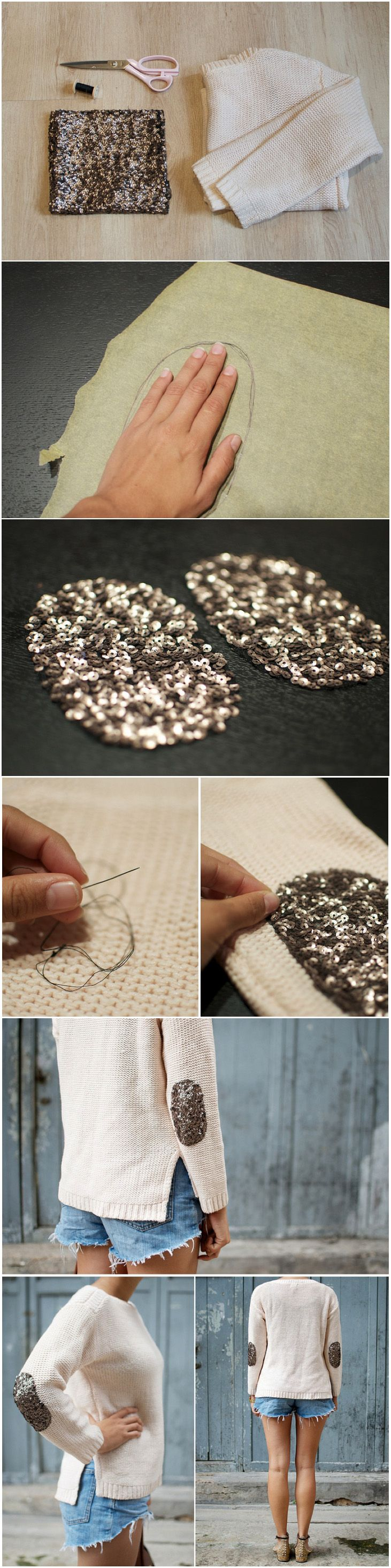 sequin elbow patches - want to try this for shoulders