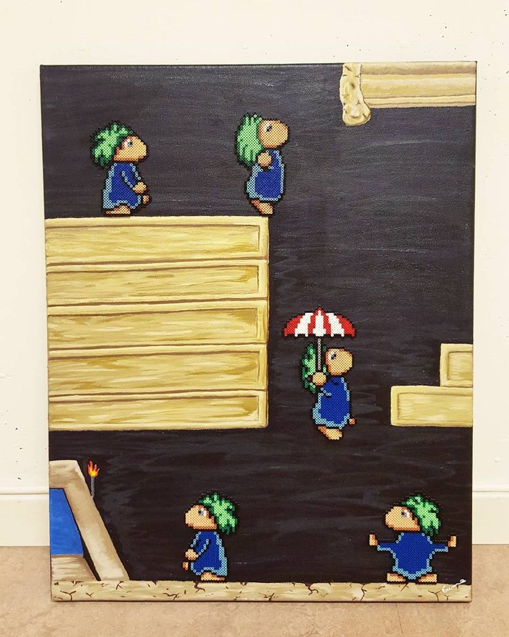 """Let's have ourselfs a little #tbt to this Lemmings piece I did little over a year ago.  This game, for SNES, was a huge part of my childhood ^^ Lemmings…"" by geekofmine"