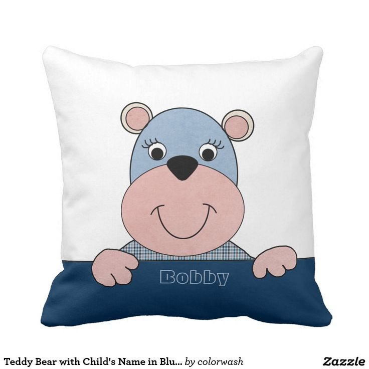 Teddy Bear with Child's Name in Blue and White Pillow - Give the gift of sweetness to the new mom or to a young child with this cute blue and pink teddy bear named for the child. #teddybear #pillows #children