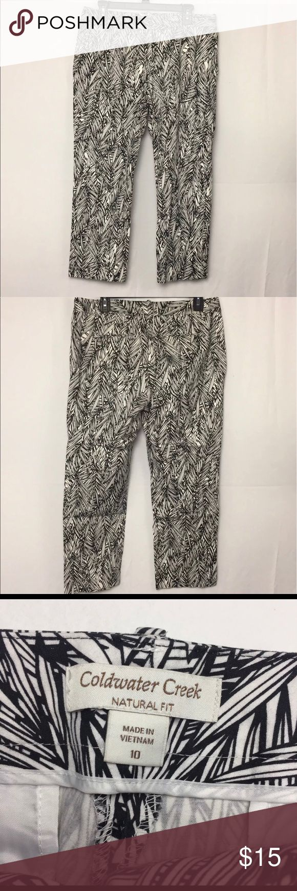 Coldwater Creek Natural Fit Capri Cropped Pants 10 Coldwater Creek Natural Fit Capri Cropped Pants 10 Women's Gingham Black White Coldwater Creek Pants Capris