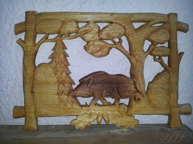 Wooden carved picture