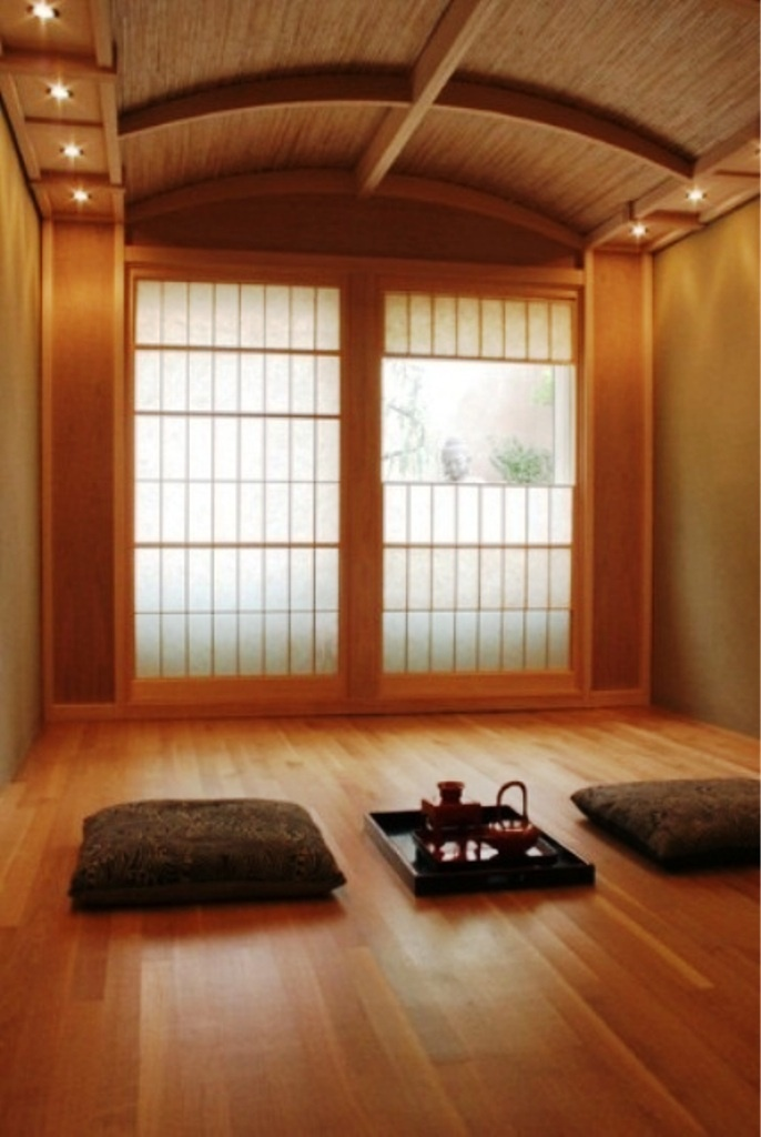 Fancy Meditation Room With Wooden Flooring Accent