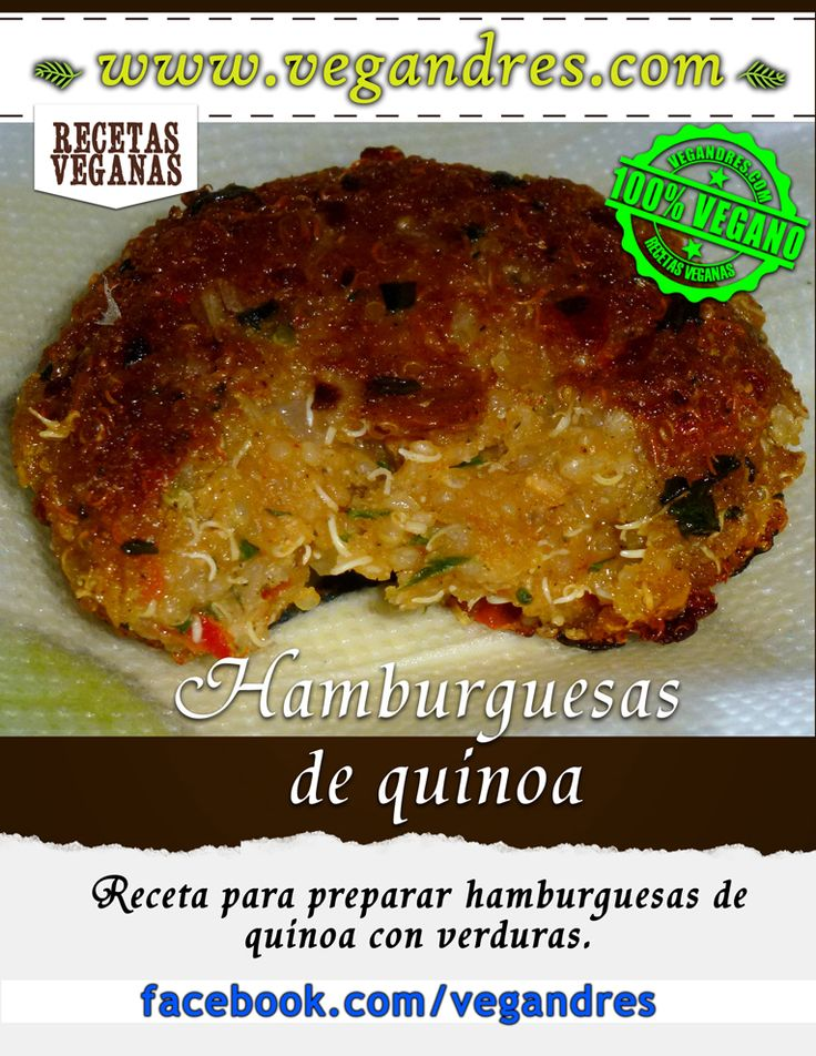 Receta de hamburguesas de quinoa con verduras: http://vegandres.com/hamburguesas-de-quinoa-receta/  #vegan #vegano #vegetarian #vegetariano #food #recipe #receta #quinoa