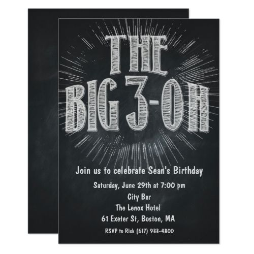 Big 3 Oh 30th Birthday Invitation