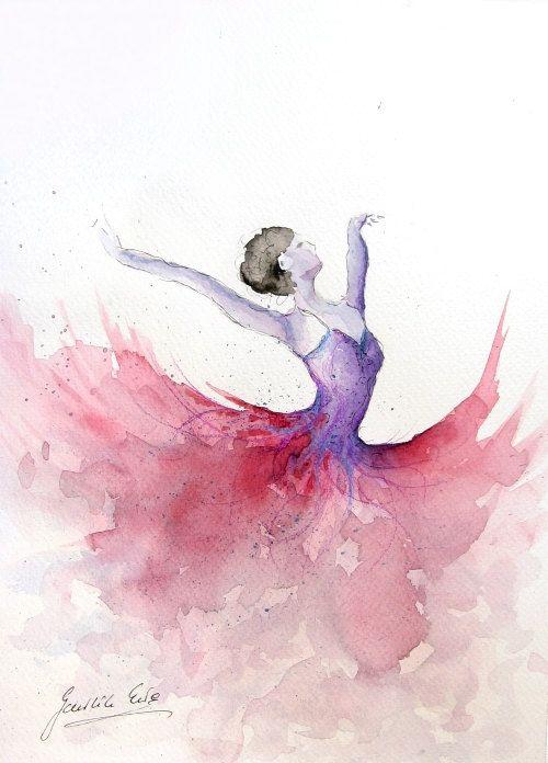 Original Watercolor Art Painting of BALLERINA by by EwArtStudio