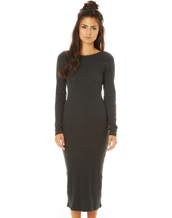 Long Sleeve Scoop Back Midi Dress